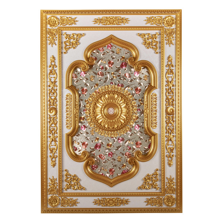 Banruo New Coming Gold PS Rectangular Top Wall Board Medallion Ceiling Design Panel Material for House Lighting Decoration
