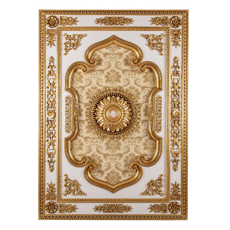 Banruo New Arriving Antique Gold PS Rectangle Top Wall Board Ceiling Fixture Medallion for Living Lighting Decoration