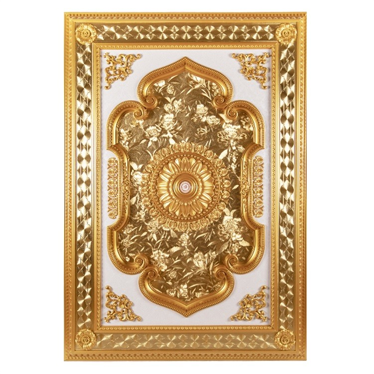 Banruo New Arriving Gold PS Rectangle Top Wall Board Prices Rosette Ceiling Material Design Panel for Hotel Lighting Decoration