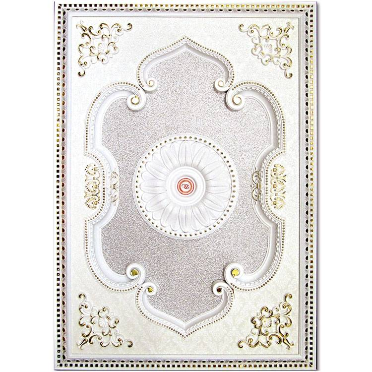Banruo Hot Selling White PS Rectangle Top Wall Plaque Artistic Ceiling Moulding For Wedding Chandelier Construction
