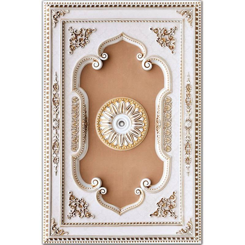 Banruo hot ps material artistic wedding ceiling board tiles panel ceiling chandelier molding for construction decor
