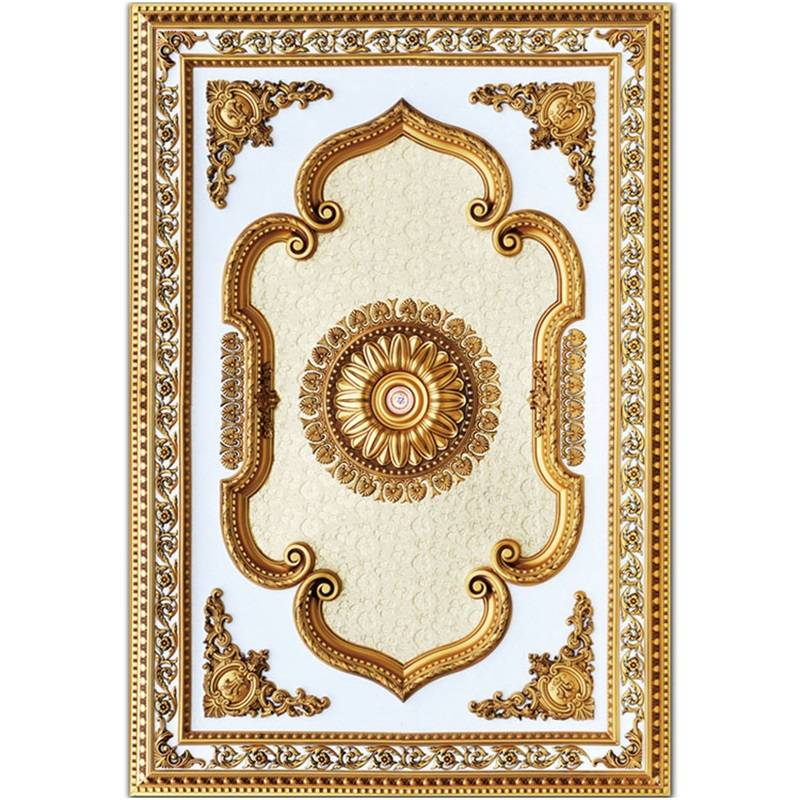 Banruo New European Style PS 3D Decorative Rectangle Ceiling Tiles Rosette Ceiling for Home Decoration