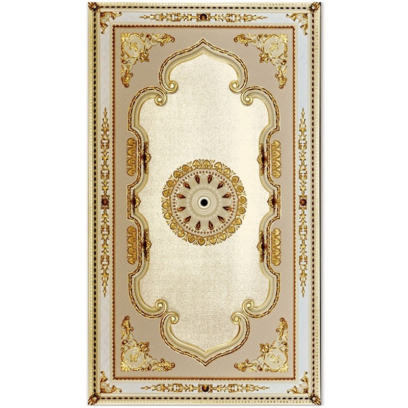 Banruo Luxurious Golden Plastic PS Rectangle Ceiling Tile Board Panel for Lightweight Decoration Material