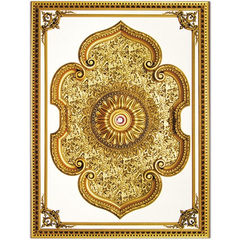 Banruo Hand-made Artistic Rectangular Medallion Ceiling Tiles Panel Top Wall Board for Home Decoration