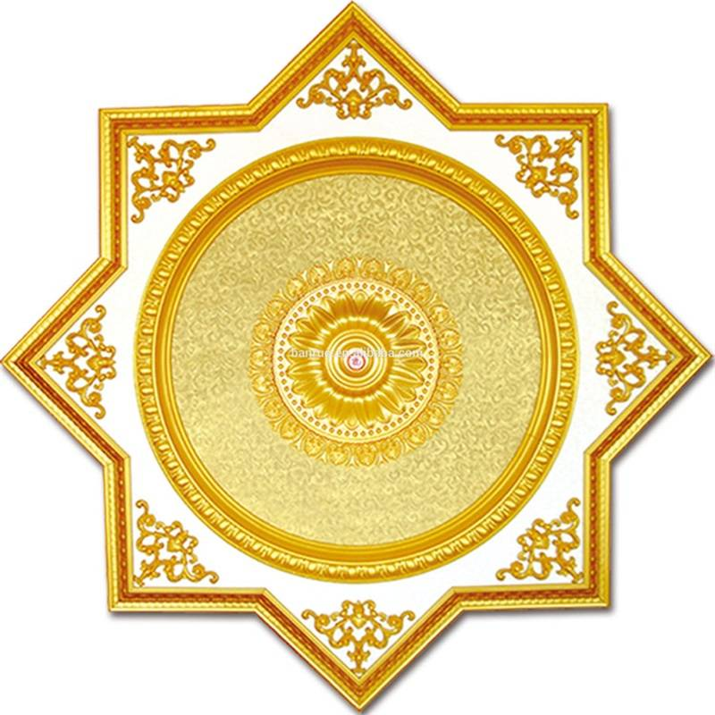 Banruo Factory wholesale ps panel ceiling tiles for decoration polygon gold ceiling medallion board