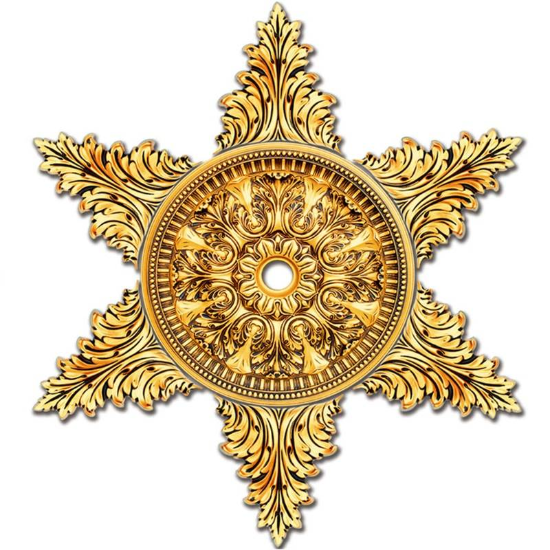 Banruo Golden Artistic Star Shape Ornate Ceiling  Medallions Panel Molding For Light Home Decoration