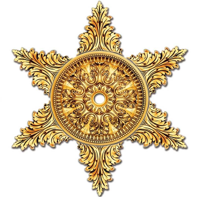 Banruo Golden Artistic Star Shape Ornate Ceiling  Medallions Panel Molding For Light Home Decoration