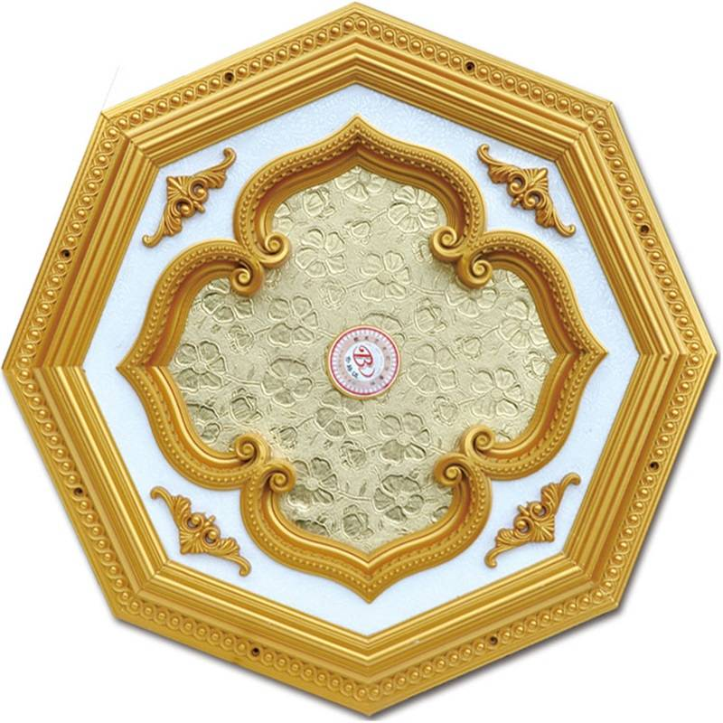 Banruo Plastic Gypsum Polygon Ceiling Ornaments Medallion for Home Building Decoration