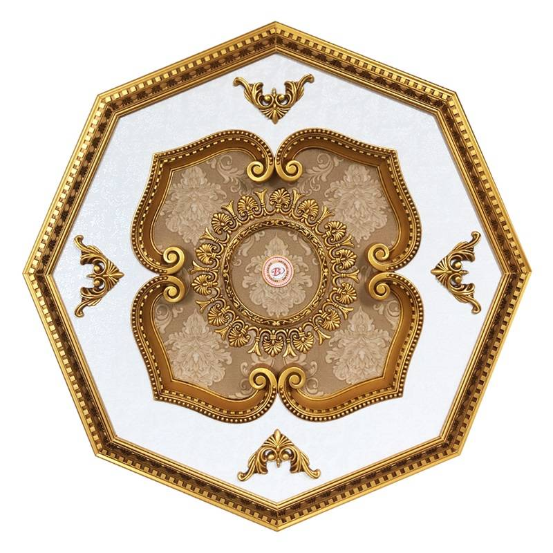 Banruo New Design Artistic Polygon pvc panels ceiling decor Ceiling Medallion Tiles For Sale