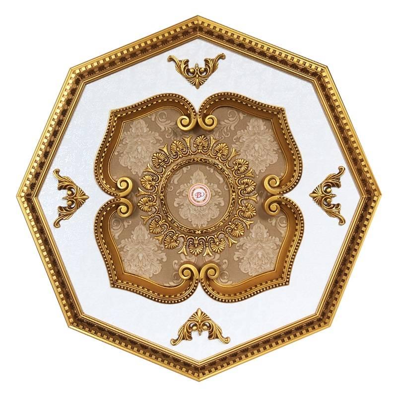 Banruo New Design Artistic Polygon pvc panels ceiling decor Ceiling Medallion Tiles For Sale
