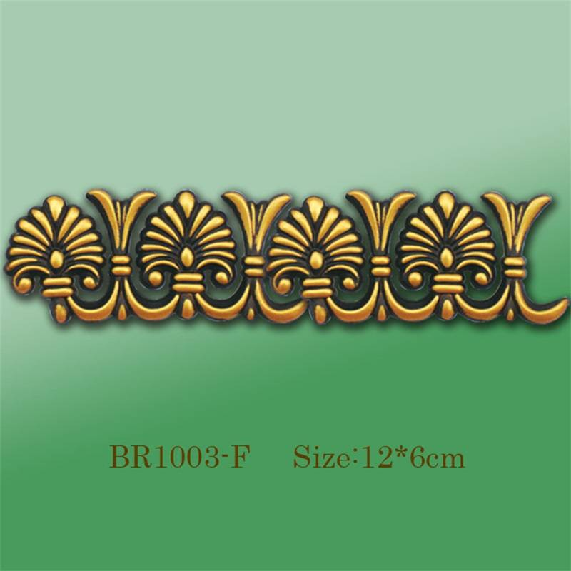 Banruo New Style Antique Gold PS Carving Veneer Ornament Ceiling Appliques Molding For House Decoration