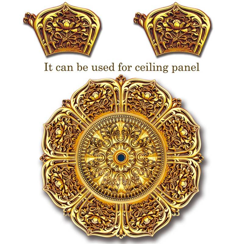 Banruo Factory Price Golden PS Panel Carving Veneer Ornamental Appliques Accessories For Home Wall Decoration