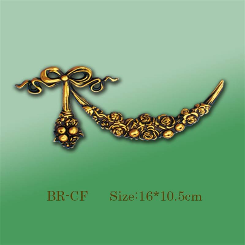Banruo Bow-knot Style Gold PS Carving Cornice Veneer Ornament Ceiling Appliques Accessories Ornamental Decoration