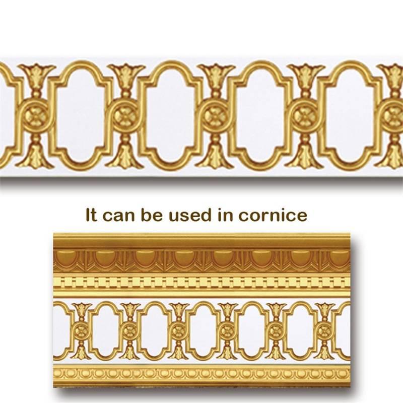 Banruo Wholesale Gold PU Hollowed Veneer Ornament Cornice Applique Furniture Decoration For House