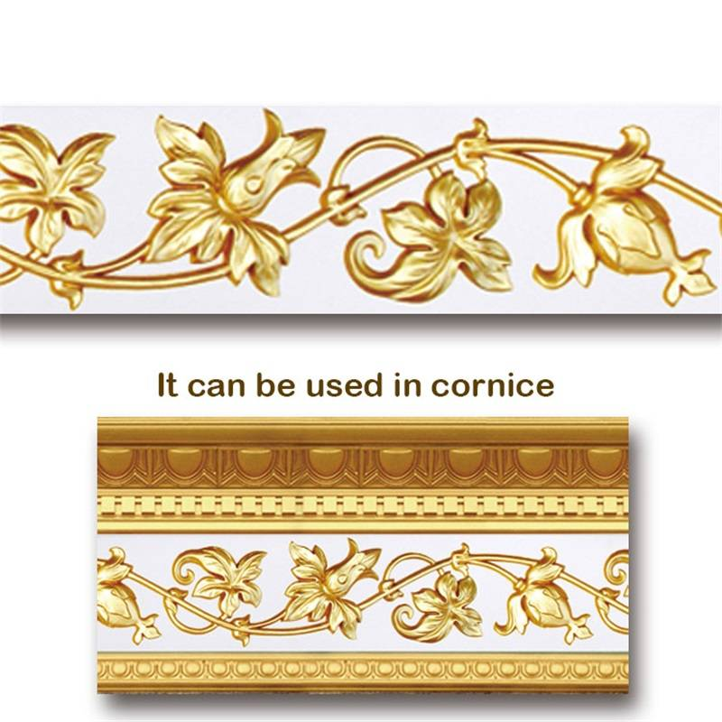 Banruo Flower Gold PU Hollowed Veneer Ornament Cornice Decorative Onlays Appliques Accessories For House