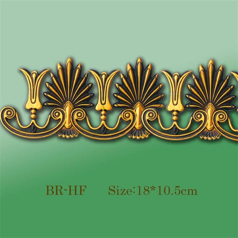 BANRUO Plastic PS Golden Corner Decorative Ornaments Flower Decoration for Ceiling decoration