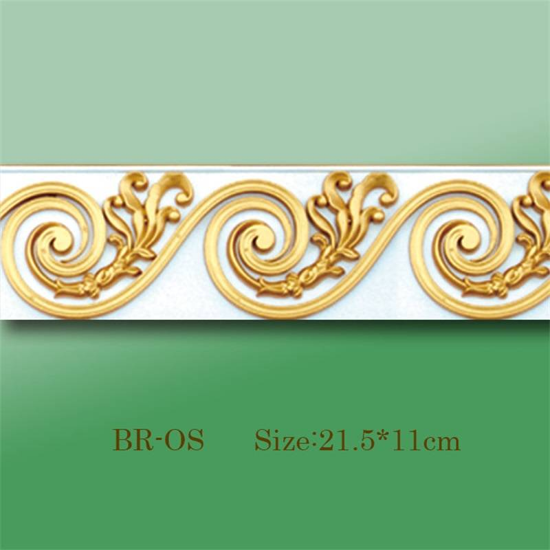 Banruo New Style Gold PU Hollowed Veneer Ornament Cornice Rosette Appliques Accessories For House Decoration