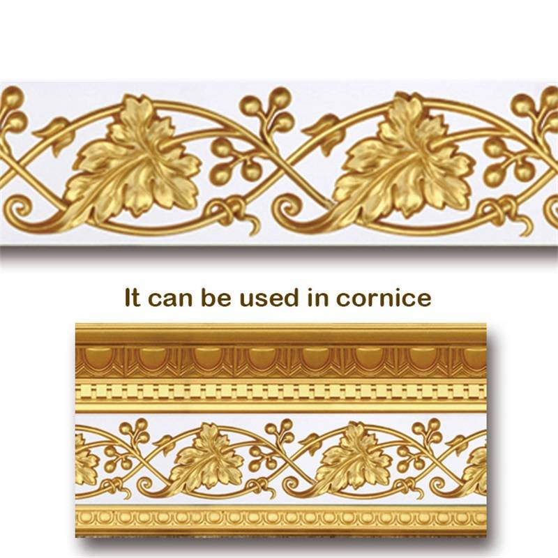 Banruo Leaf Style Gold PU Hollowed Veneer Ornamental Cornice Moulding Appliques Accessories For House Decoration
