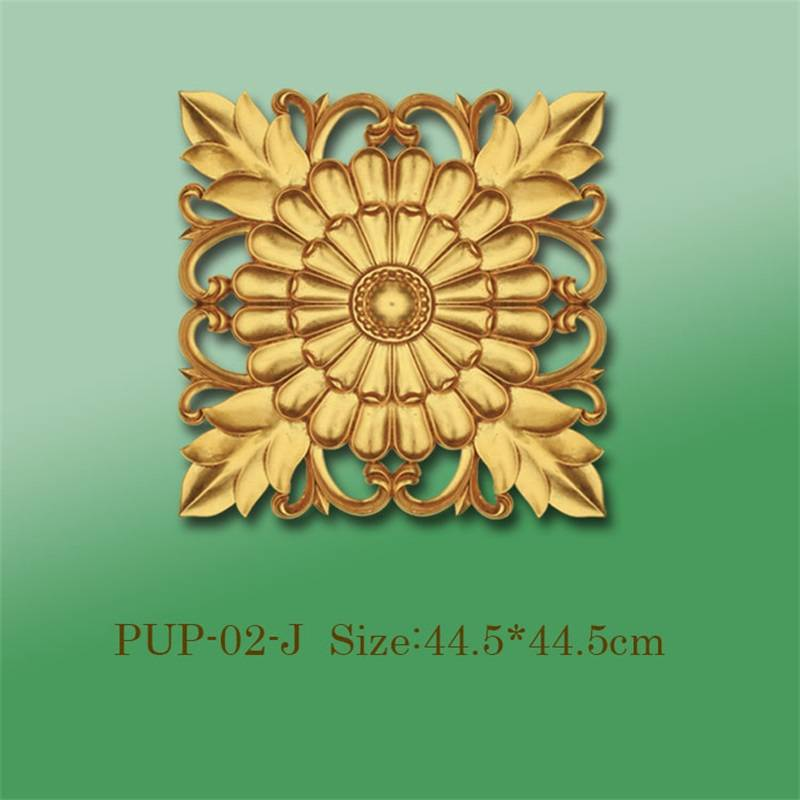 Banruo Gold PU Hollowed Veneer Ornament Panel Face Applique Molding For Furniture Decoration