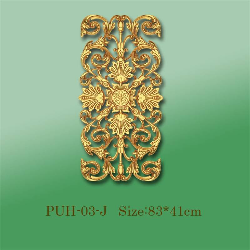 Banruo Wholesale Gold PU Hollowed Veneer Ornamental Panel Face Appliques Accessories For House Decoration