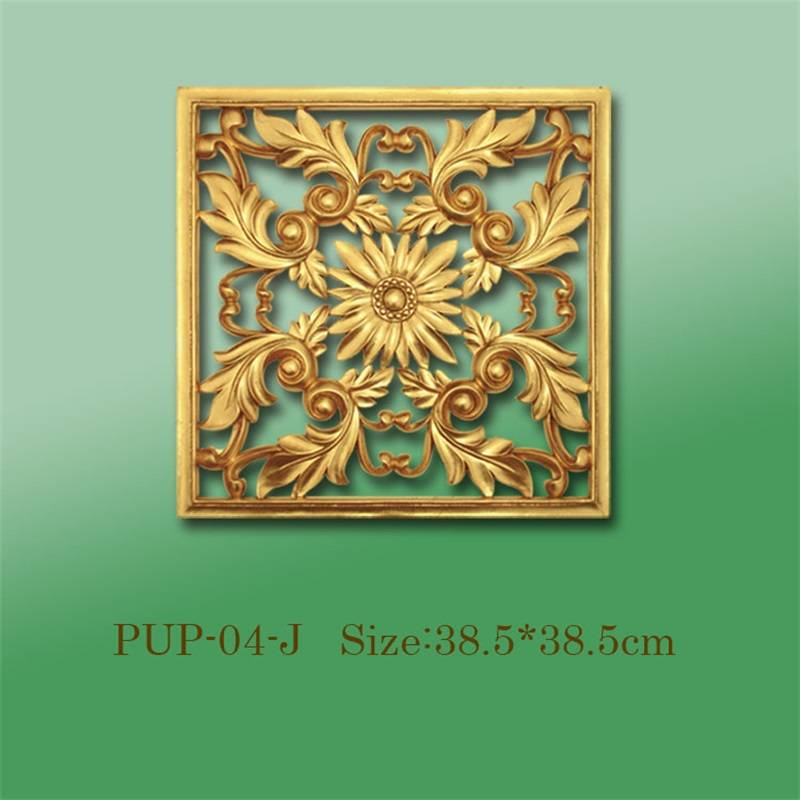 Banruo Wholesale Square PU Hollowed Veneer Decorative Ornaments Panel Face Appliques Accessories For House