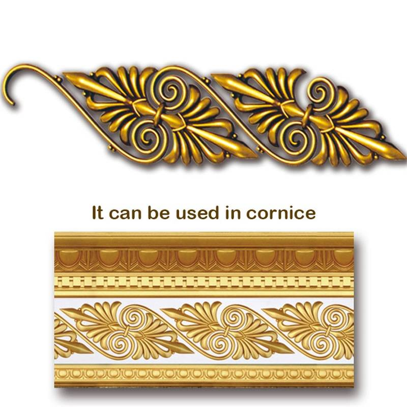 Banruo Leaf Style Gold PS Hollowed Cornice Veneer Ornament Decorative Ceiling Appliques Accessories For House