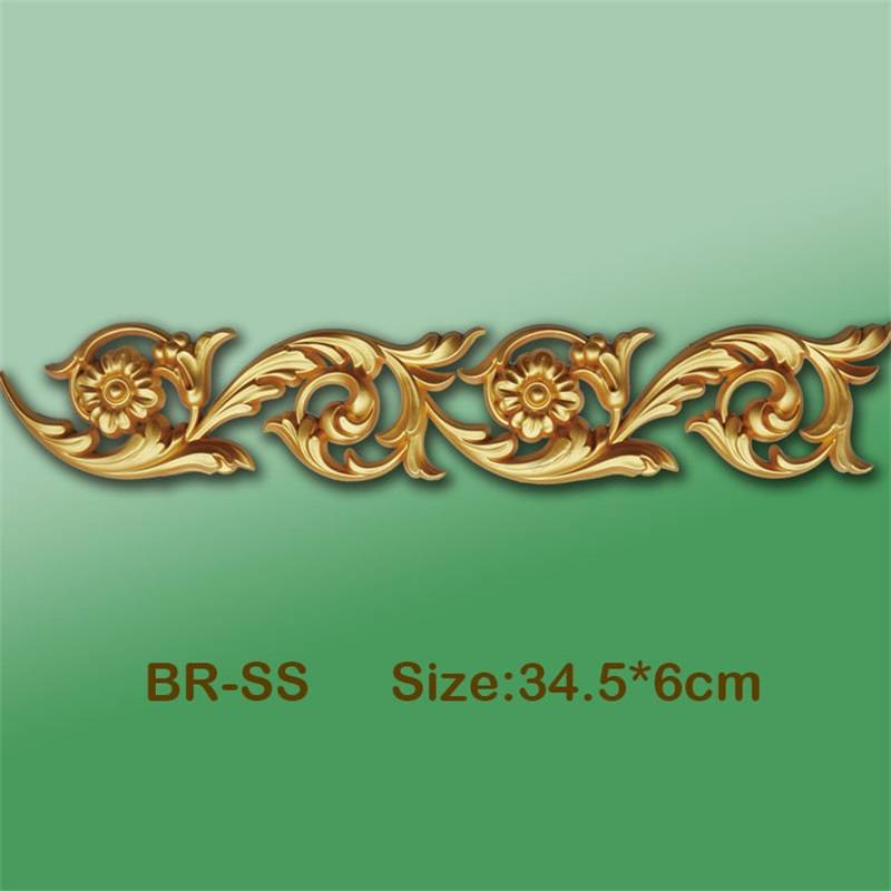 Banruo Flower Classic Style Gold PS Cornice Veneer Ornamental Moulding Appliques Accessories For House Decoration