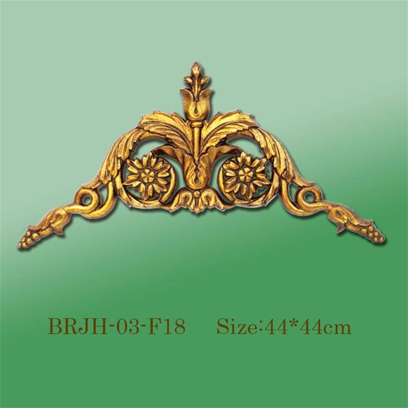 Banruo Golden PS Panel Carving Veneer Ornamental Corner Appliques Accessories For Home Wall Decoration