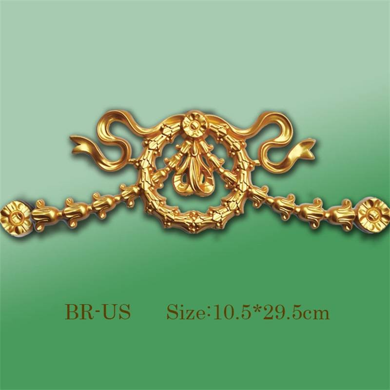 Banruo Bow-knot Style Gold PS Hollowed Cornice Veneer Ornament Architectural Ceiling Appliques Accessories For House Decoration