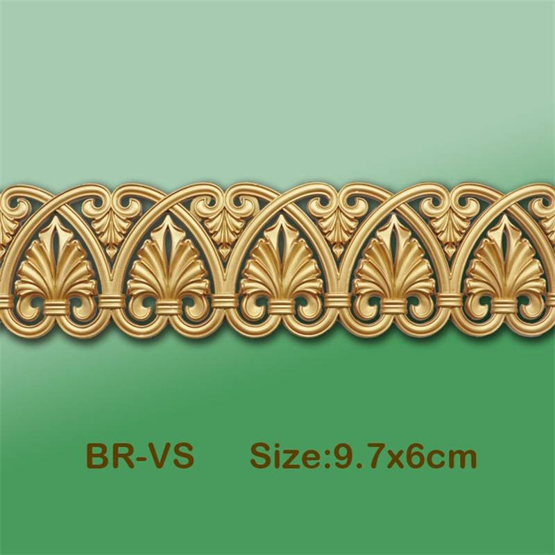 Banruo Leaf Style Gold PS Hollowed Cornice Veneer Ornament Ceiling Applique Furniture Decoration For House