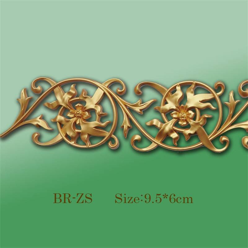 Banruo Flower Style Gold PS Hollowed Cornice Veneer Ornament Ceiling Appliques Accessories For House Decoration