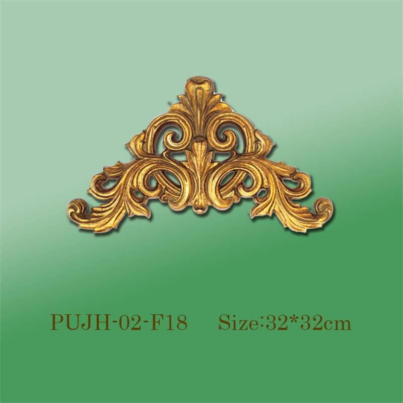 Banruo Wholesale Golden PU Panel Hollowed Veneer Ornament Corner Applique Molding Accessories For Ceiling Decoration