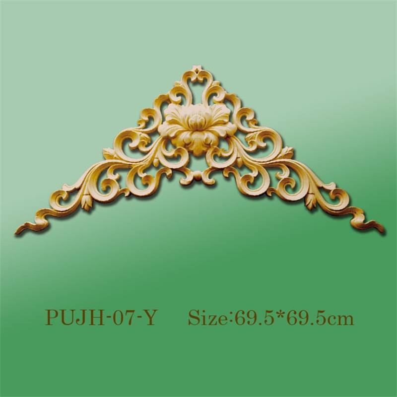 Banruo Factory Price PU Flower Hollowed Veneer Corner Ornamental Appliques Accessories For Home Ceiling Decoration