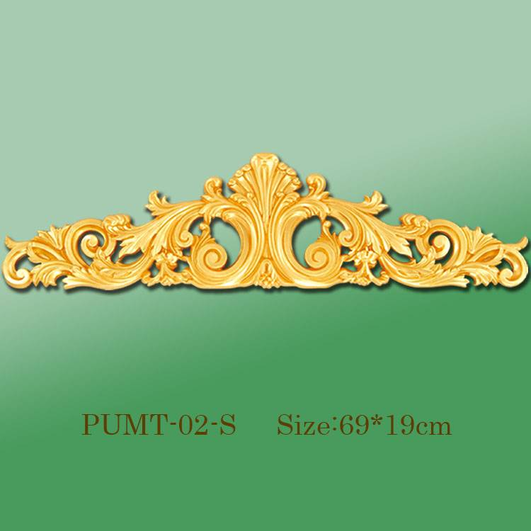 Banruo Factory Price Golden Veneer Accessories Ornament Polyurethane Appliques Molding For Wall Panel Decoration