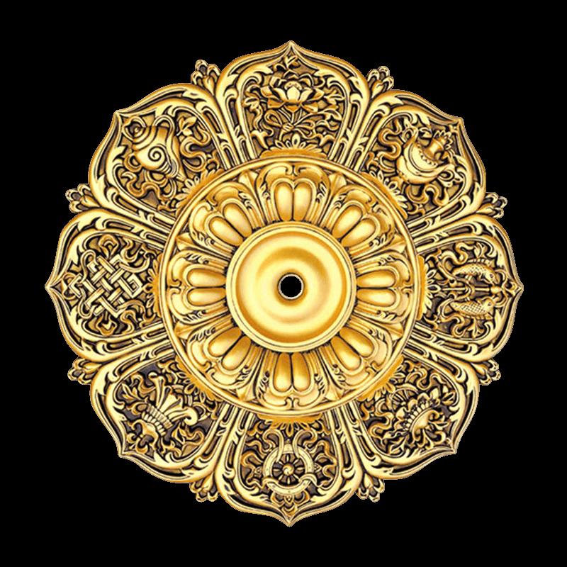 Banruo Artistic Flower Shape Antique Gold Polyurethane Ceiling Medallions for Chandelier