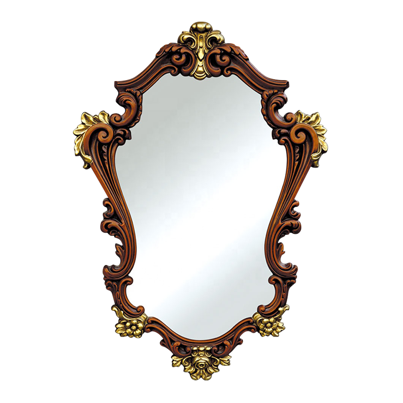 Banruo New Arrival Antique Faux Brass PU Octagon Mirrored Wall Frames For Interior Decoration