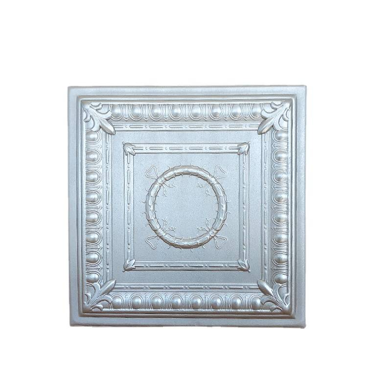 Banruo Low Price Decorative Silver Styrofoam Easy to Glue Ceiling Decor Tiles Panel 3d Wall