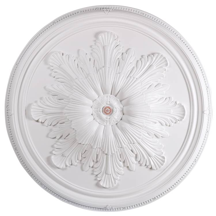 Banruo new arrival style flower carved plastic PS artistic ceiling tiles medallion for home top wall decoration