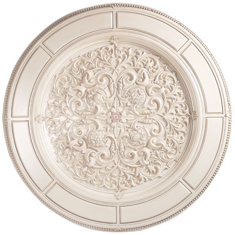 Banruo artistic lightweight Ivory white flower carved top wall board residential ceiling panels for bedroom decoration