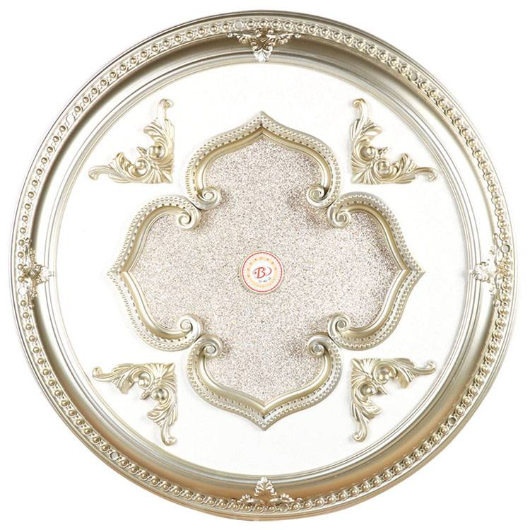 Banruo European Style Decorative Round PS Plastic Artistic Ceiling Medallion Tiles Panel For Interior Lighting Decor
