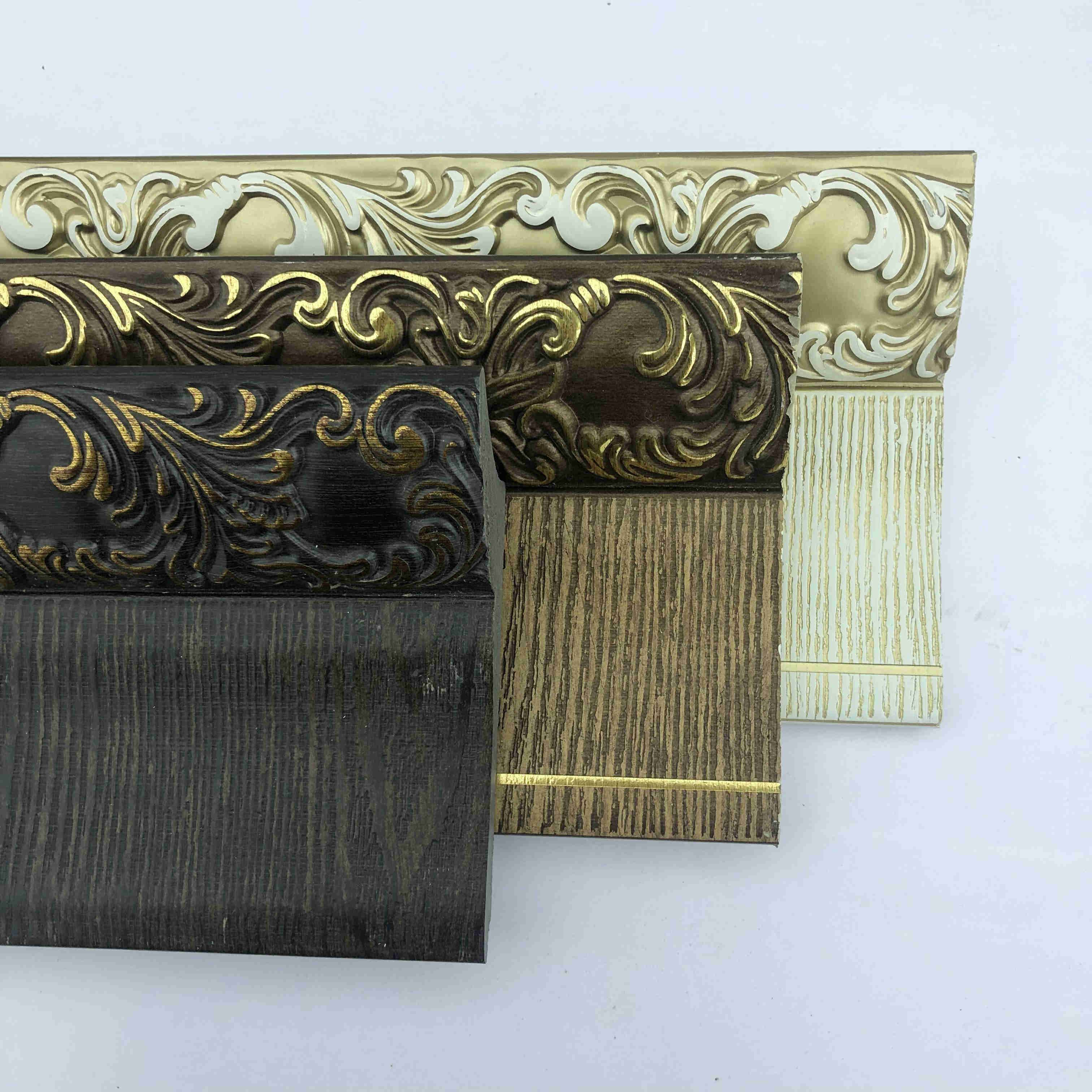 European style decorative ceiling molding artistic wood like cornice PS moulding line
