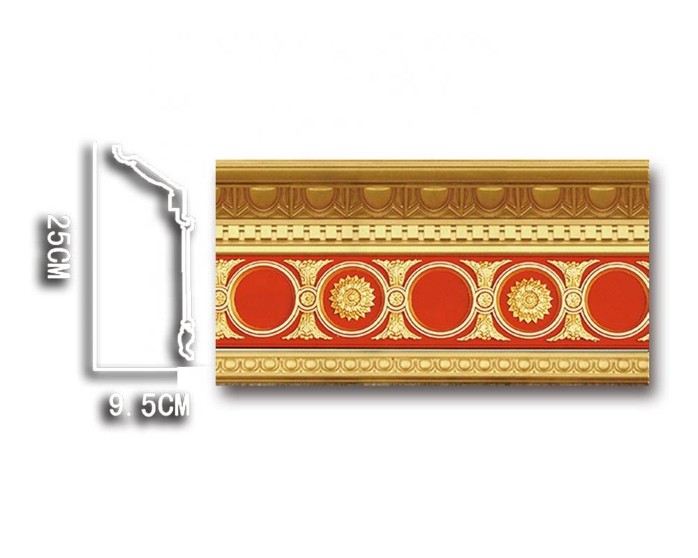 Banruo Artistic Plastic Easy Crown Moulding PS Roof Cornice Material for House Ceiling Decoration