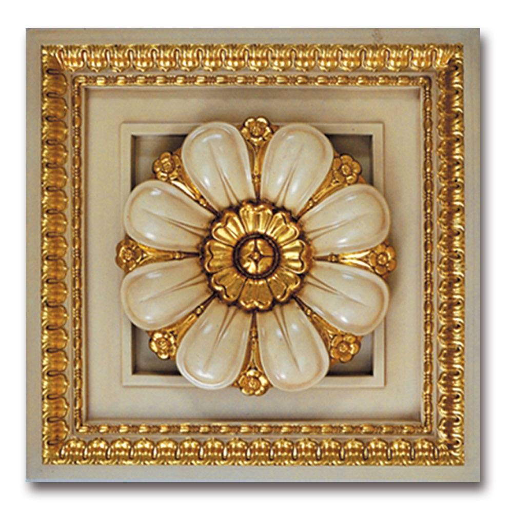Banruo Luxury Cheap Carved Flower Square Ceiling Medallion LED Light Hanging Ceiling Tiles