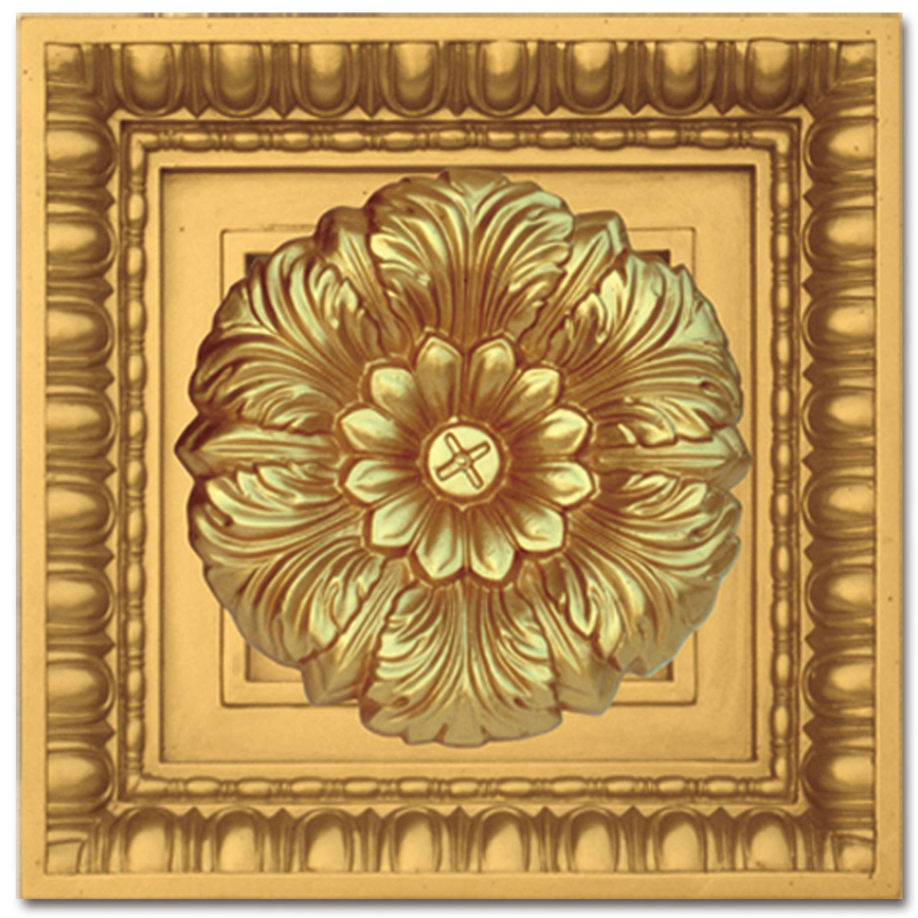 Banruo Artistic PU Square Decorative Light Panel Carved Flower Church Nice Ceiling Tiles Wall Roof Board