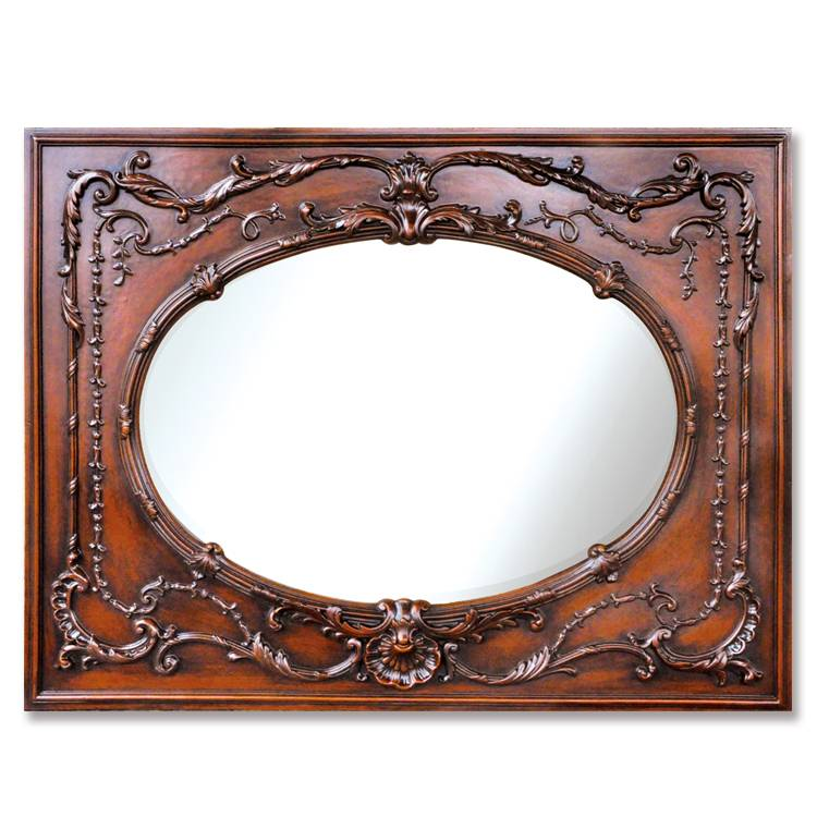 Banruo European Wood Red Decorative PU PS Mirror Frame Cornice Photos Frame Moulding For Wall Coating