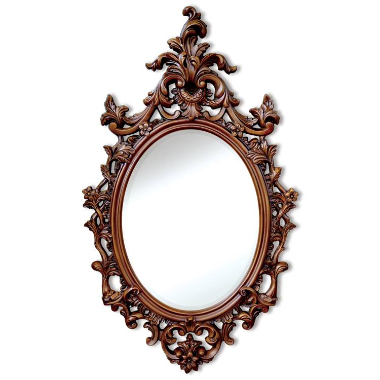 Banruo Wholesale French Style Polyurethane PU Vintage Oval Frame Vintage Mirror Frames Moulding