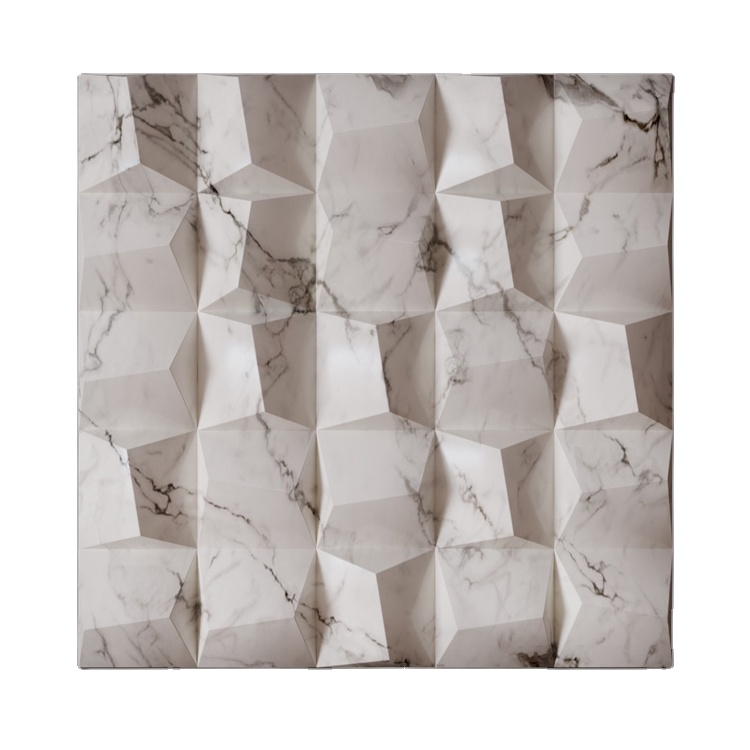 Banruo Eco Friendly PU Plastic Faux Marble TV Background 3D Feature Wall Tiles For Interior Decoration