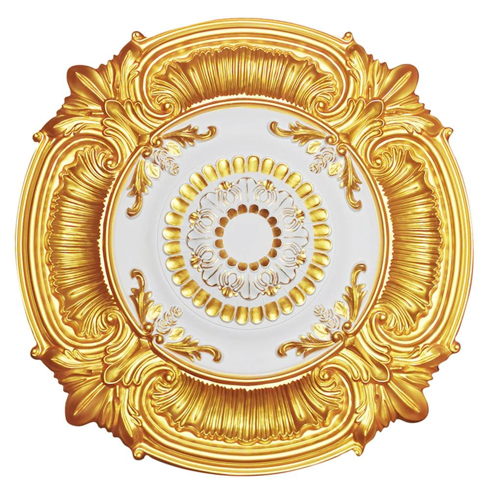 Banruo Decorative PU Gold Top Ceiling Tiles Medallion For Interior Lighting Decor