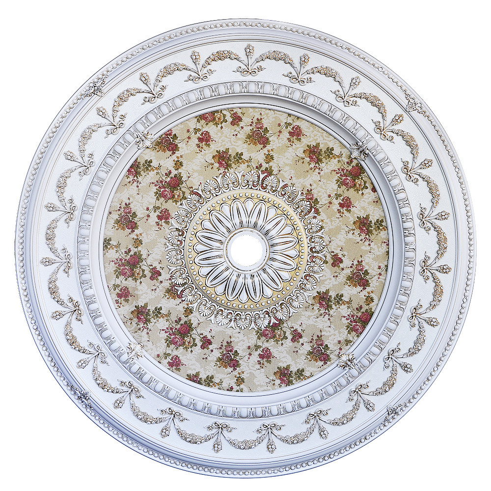 Banruo Luxurious Antique PS Polystyrene Plain Ceiling Medallion for Construction