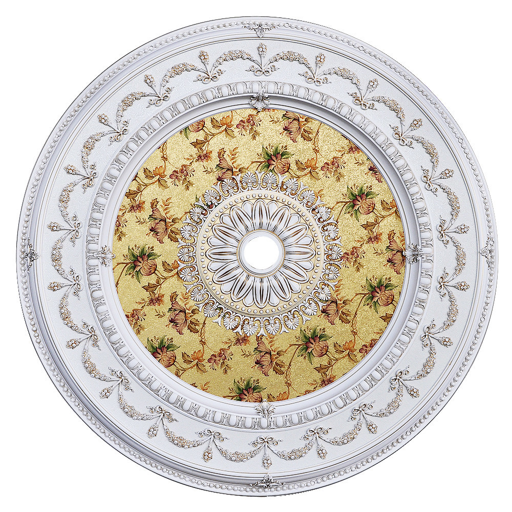 Banruo Artistic  White and Floral PS Polystyrene Tiles Ceiling Decoration For Lights